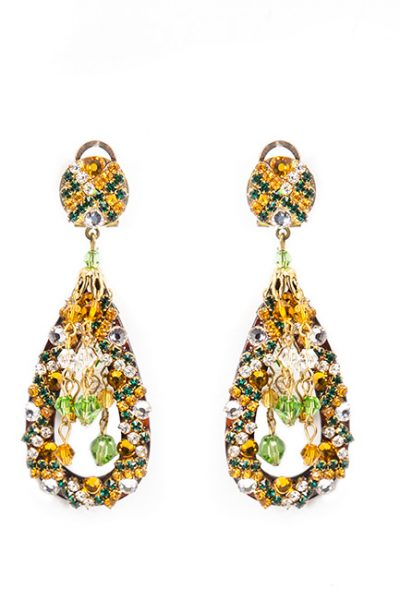 Teardrop Earrings With Green And Gold Swarovski Crystals