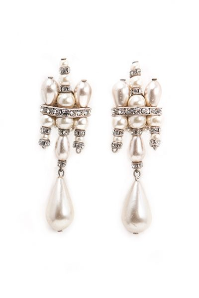 Pearl and Swarovski Crystal Chandelier Earrings