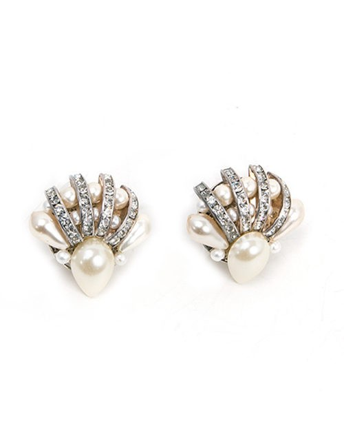 Pearl and Crystal Fan Shape Earrings - Clip