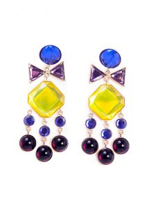 Tiered Chandelier Earrings With Blue, Purple and Yellow Swarovski Crystals