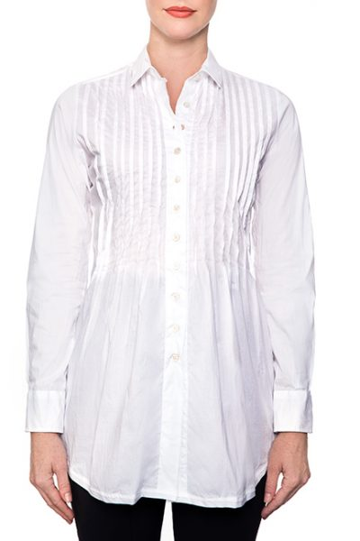 Marillyn Long Pleated Stretch Cotton Blouse - All-White