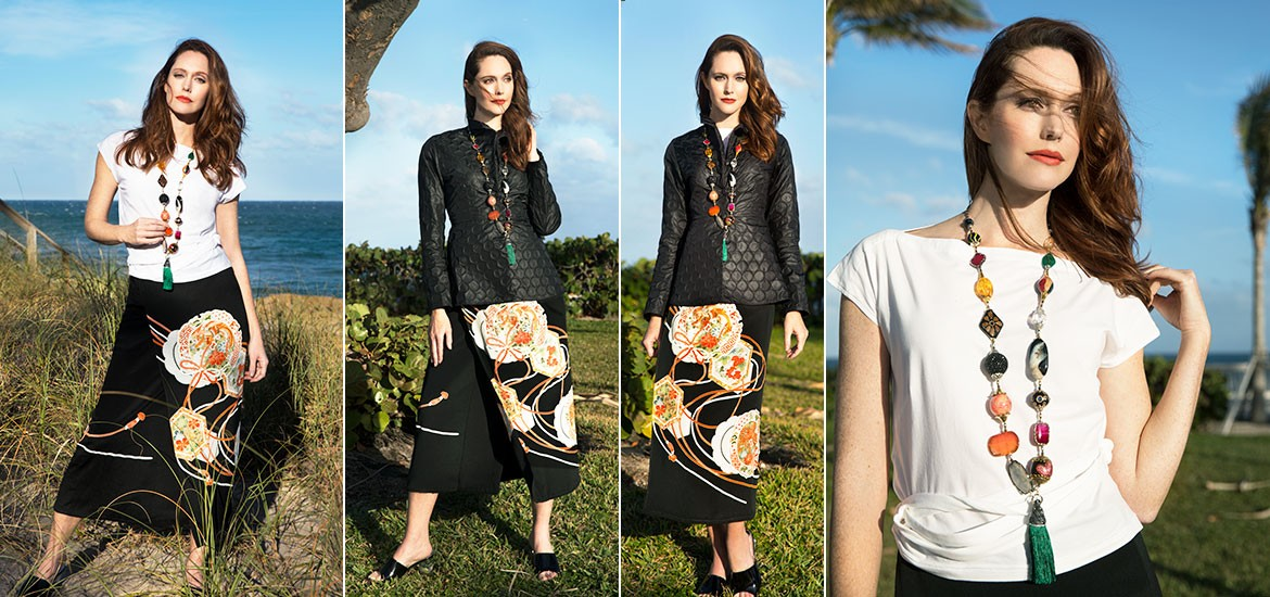 Kimono Skirt, Long Eclectic Necklace, Black Textured Jacket - Marilyn's, Naples, Florida