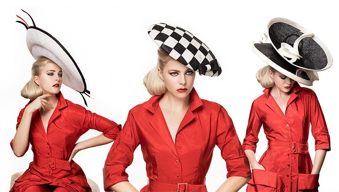 three Couture Hats With Red Dress - Marilyn's