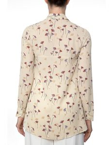 Marilyn Beige, Lavender And Rust Print Viscose Blouse With Long Sleeves - Back