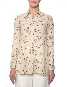 Marilyn Beige, Lavender And Rust Print Viscose Blouse With Long Sleeves
