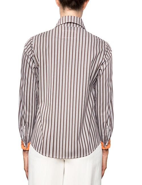 Marilyn Brown And White Stripe Blouse With Long Sleeves, Orange Trim - Back