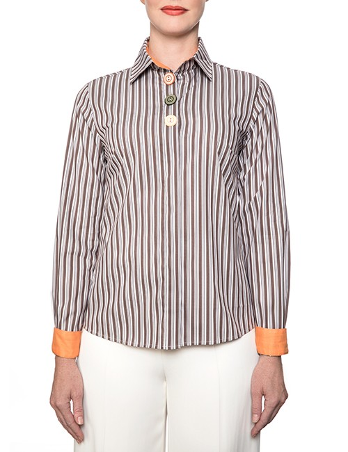 Marilyn Brown And White Stripe Blouse With Long Sleeves, Orange Trim