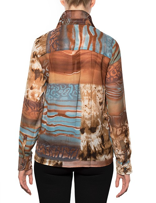 Marilyn Brown and Aqua Silk Print Blouse With Long Sleeves - Back