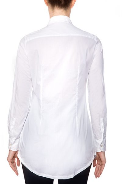 Marillyn Long Pleated Stretch Cotton Blouse - All-White - Back