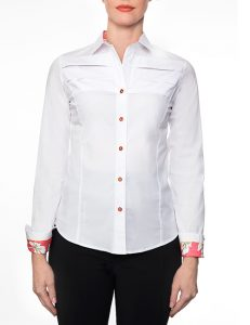 White Cotton Blouse With Yolk, Long Sleeves And Coral Print Trim