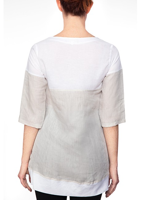 Marilyn Long White and Beige Linen Blouse with Scoop Neck, 3/4 Sleeves - Back