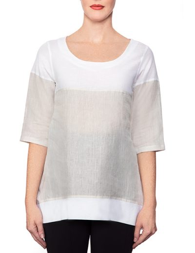 Marilyn Long White and Beige Linen Blouse with Scoop Neck, 3/4 Sleeves