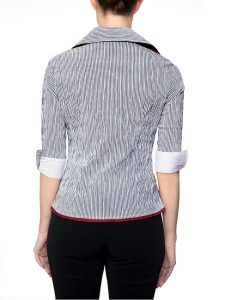 Marilyn Black and White Striped Blouse With Zipper, 3/4 Sleeves - Back