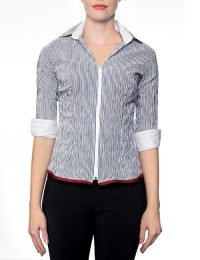 Marilyn Black and White Striped Blouse With Zipper, 3/4 Sleeves