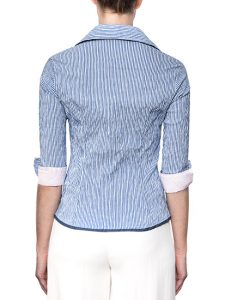 Marilyn Blue And White Stripe Fitted Blouse With Zipper, 3/4 Sleeve - Pale Pink Trim - Back