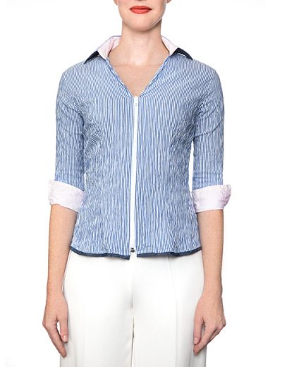Marilyn Blue And White Stripe Fitted Blouse With Zipper, 3/4 Sleeve - Pale Pink Trim