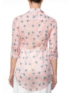 Marilyn Cotton Pleated Pink Floral Print Blouse With 3/4 Sleeves - Back