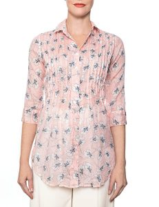 Marilyn Cotton Pleated Pink Floral Print Blouse With 3/4 Sleeves