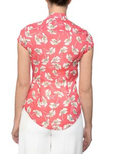 Marilyn Cotton Pleated Coral Floral Print Blouse With Cap Sleeves - Back