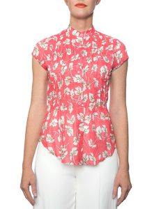 Marilyn Cotton Pleated Coral Floral Print Blouse With Cap Sleeves
