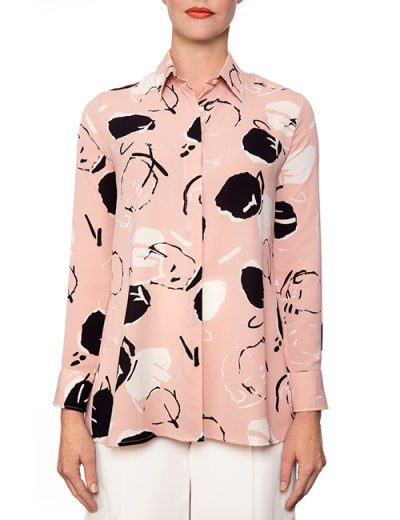 Marilyn Pink, Black And White Print Viscose Blouse With Long Sleeves