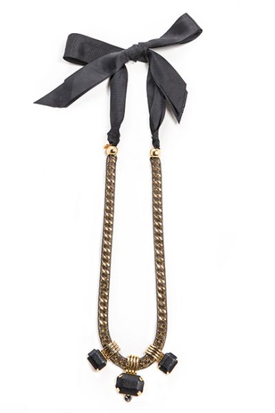 Necklace With Mesh Wrapped Around Gold Metal, Leather Beads And Black Ribbon Tie