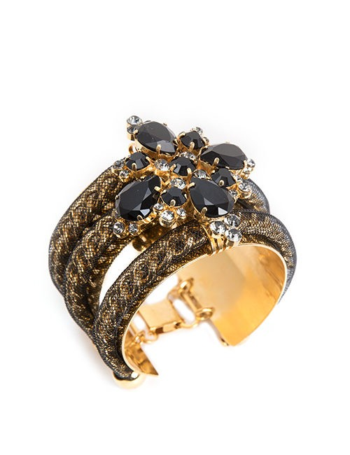 Black And Gold Wide Cuff Bracelet With Swarovski Crystals