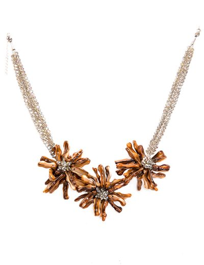 Flower Cluster Necklace With Swarovski Crystal Strands In Gold/Amber Tones