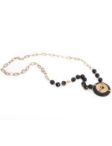 Long gold chain with black beads and gold/black pendant