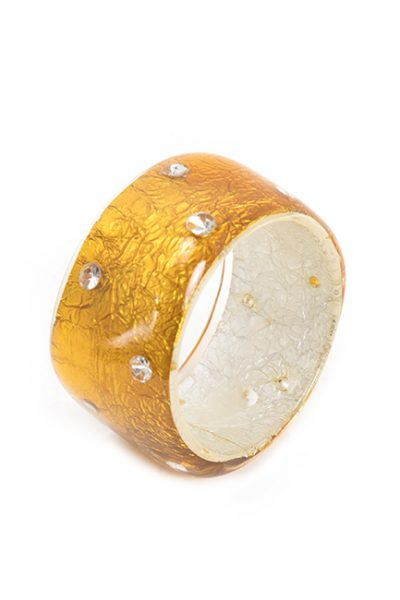 Gold Wide Cuff Resin Bracelet With Swarovski Crystals