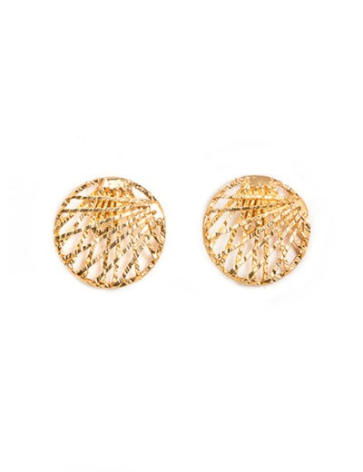 Gold Filigree Disk Earrings
