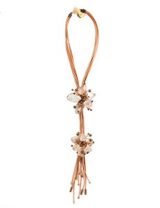 """""""Art To Wear"""" - Handcrafted Necklace Combining Leather, Frosted Glass, Crystals, Beads - Copper"""