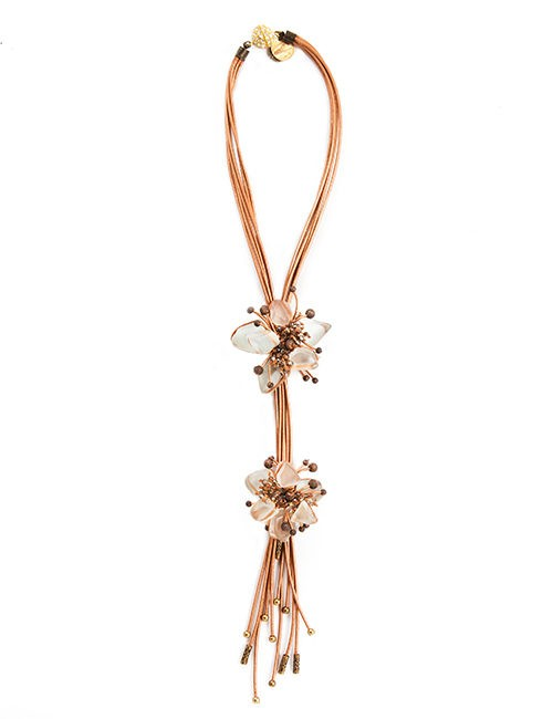 """Art To Wear"" - Handcrafted Necklace Combining Leather, Frosted Glass, Crystals, Beads - Copper"
