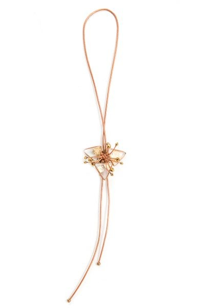 Leather Cord Necklace With Frosted Glass And Gold Leaf - Copper