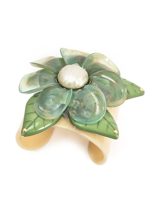 Cuff Bracelet With Large Sage Green Flower -Resin