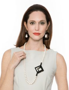 Fashion Image - Pearl Necklace With Black Rectangle Pendant