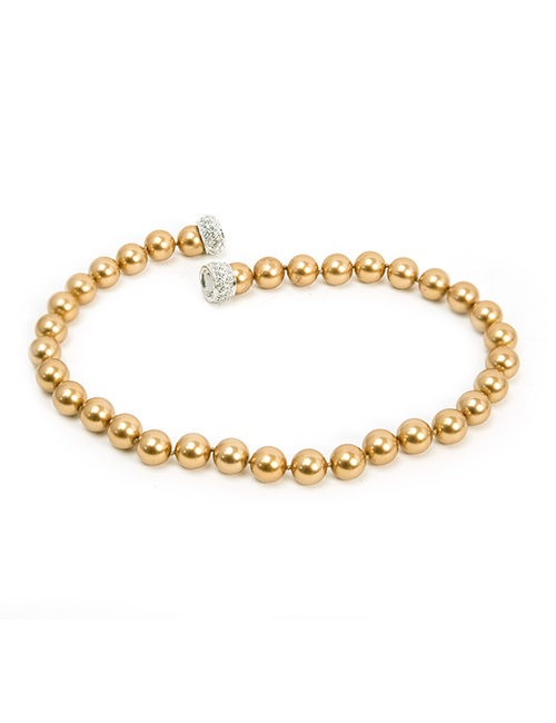 Necklace - Strand Of Gold Beads With Crystal Clasp