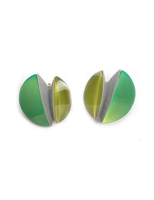 Modern Resin Two-tone Green Earrings - Clip