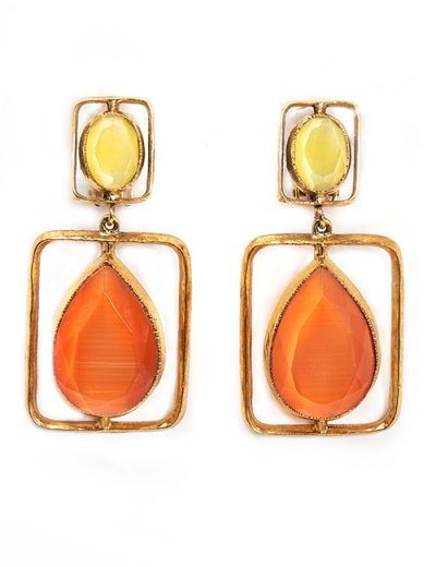 Teardrop and Rectangle Earring In Lemon and Orange Resin
