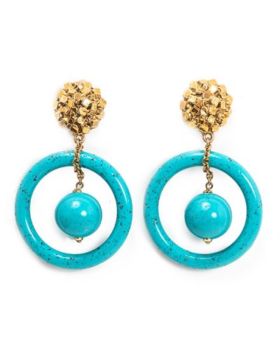 Turquoise Artistic Resin and Gold Cluster Hoop Earrings