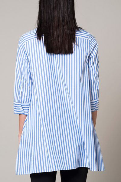Blue and White A-Line Long Blouse - 3/4 sleeve - back view