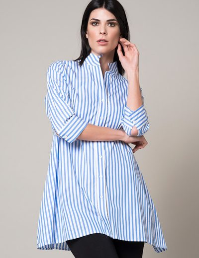 Blue And White Stripe Long A-Line Blouse - 3/4 Sleeve
