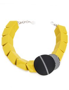 Chunky Rectangles And Circles - Necklace, Yellow, Black and White