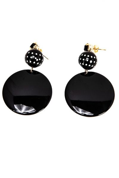 Black and White Earrings - Round