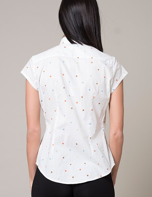 White Blouse With Multi-color Dots - Cap Sleeve - back view