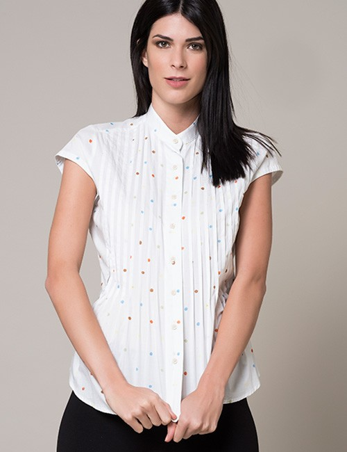 White Blouse With Multi-color Dots - Cap Sleeve