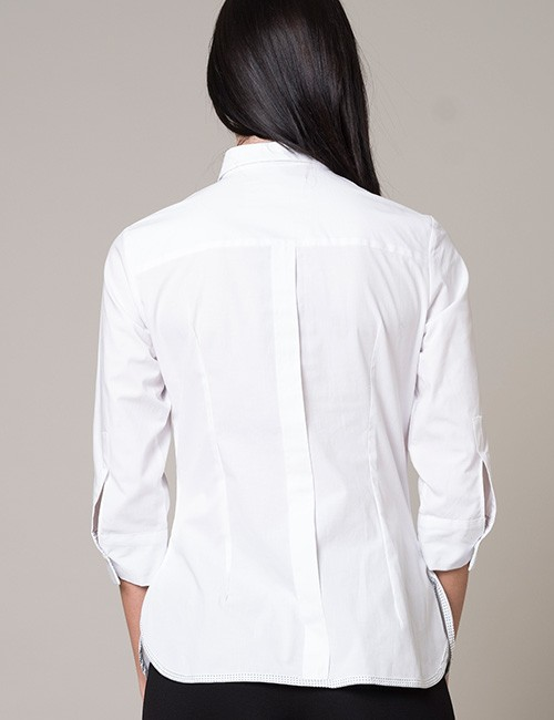 White Blouse with Black and White Polka Dot Ruffle - 3/4 Sleeves - Back View