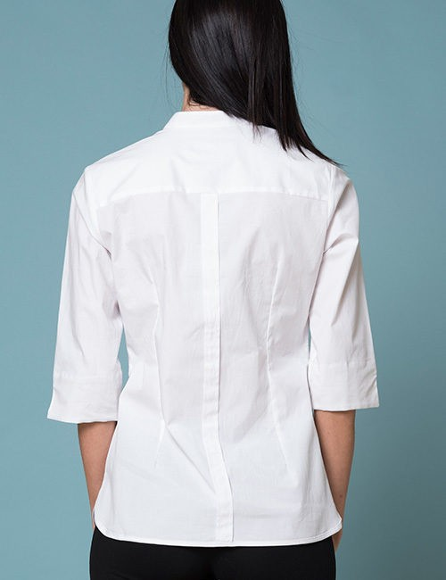 White Blouse With Beige Outline Ruffle - 3/4 Sleeves - Back View
