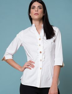 White Blouse With Beige Outline Ruffle - 3/4 Sleeves
