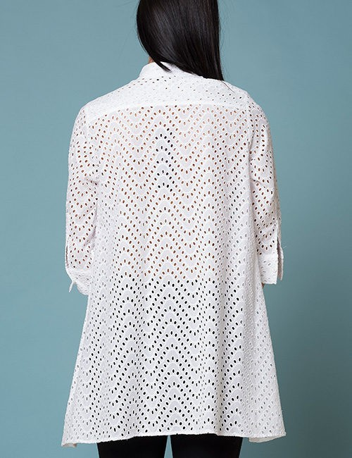 White Eyelet Long Blouse With 3/4 sleeve - back-view